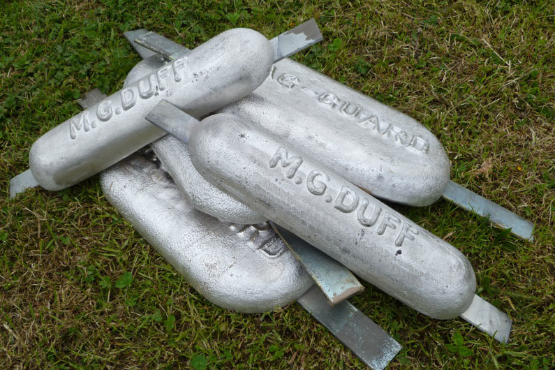 Group of narrowboat anodes purchased ready to be welded on a narrow boat