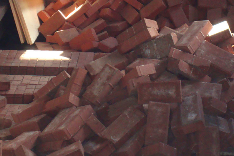 Narrow boat ballast material ready to be laid. Bricks are one of many options available