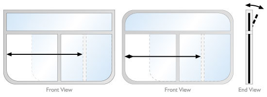 Hopper style slider rectangular windows for a narrow boat