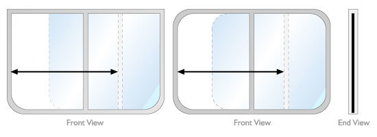 Full slider rectangular windows on a narrowboat