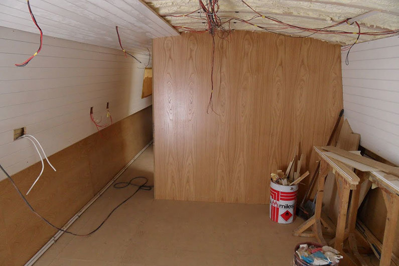 A bulkhead on a narrowboat is basically a partition wall used to create rooms