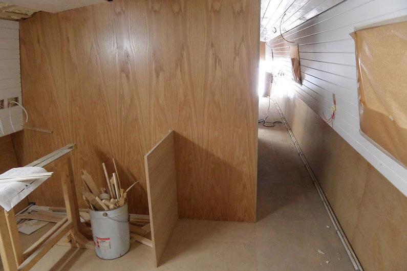 Bulkhead installed during fit out of a canal boat