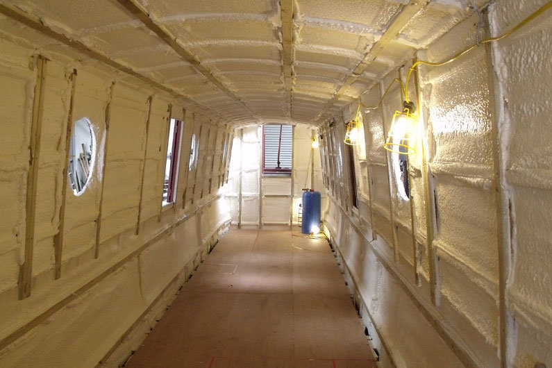 Narrowboat insulation applied during the fit out of a new narrow boat