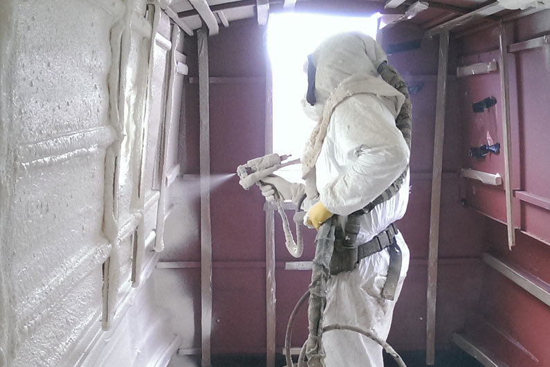 Spray on polyurethane (PU) foam is a popular choice for insulation on a narrow boat