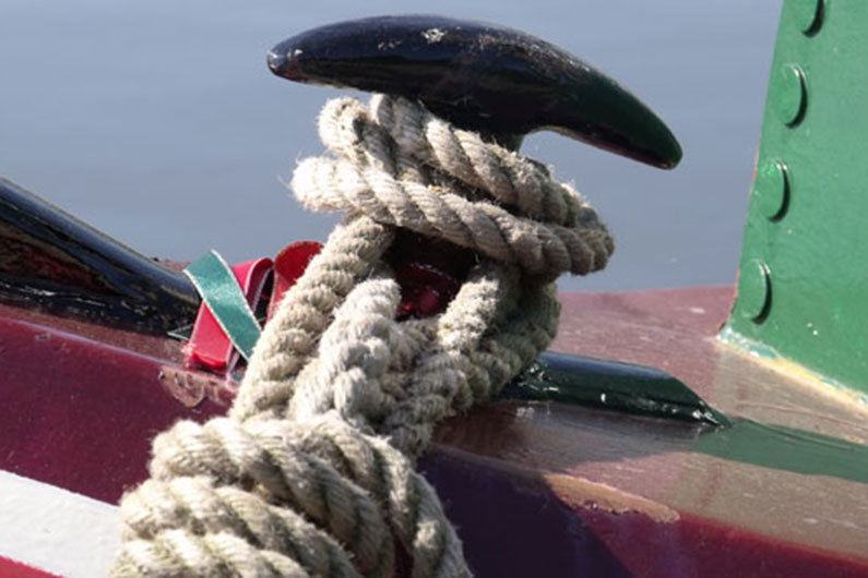 Rope knot on a narrowboat