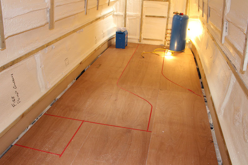 Narrowboat sub floor is a layer of flooring under the final floor