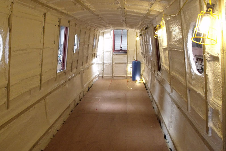 Narrowboat sub floor in place in preparation for final floor covering to be laid.