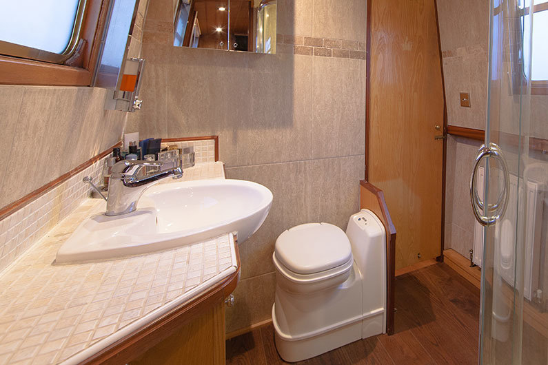 A cassette toilet is a flexible option which can be altered depending on location on a narrow boat