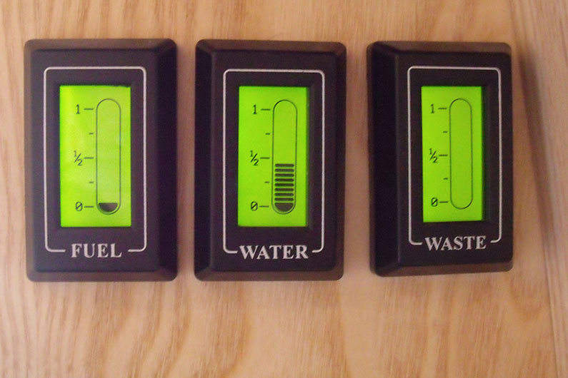 Gauges for water, fuel and waste on a narrow boat