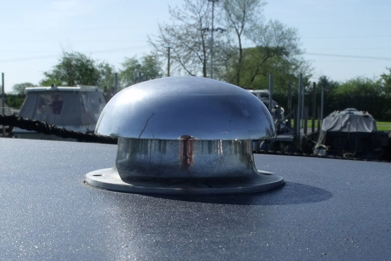 Mushroom vents are the most common form of roof ventilation on a narrow boat.