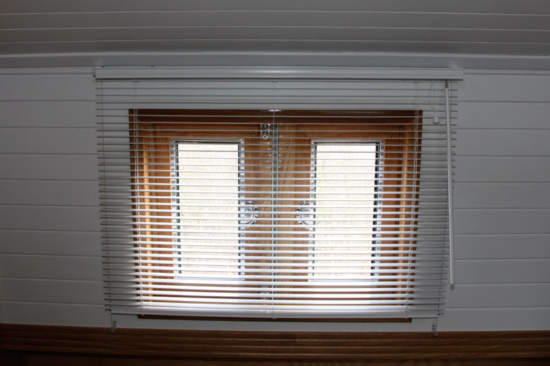 Venetian blinds are a versatile window dressing choice for a narrowboat. Providing privacy without blocking natural light
