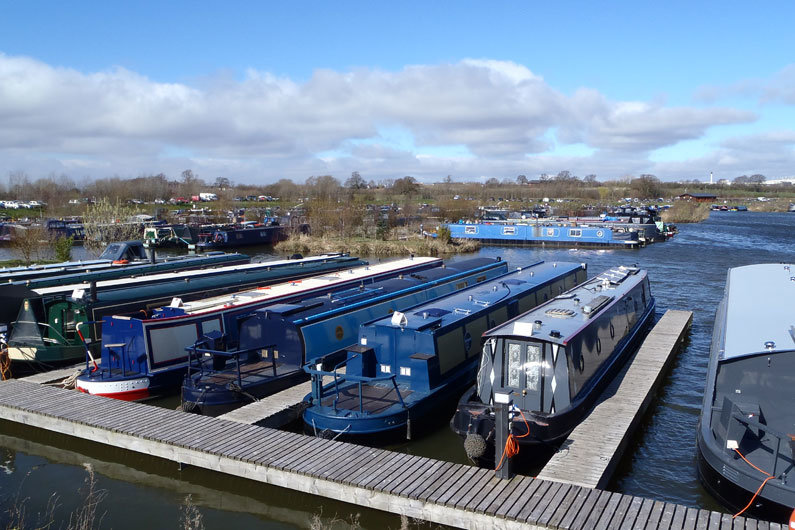 A narrowboat brokerage in a marina is an ideal venue to view many second hand narrow boats