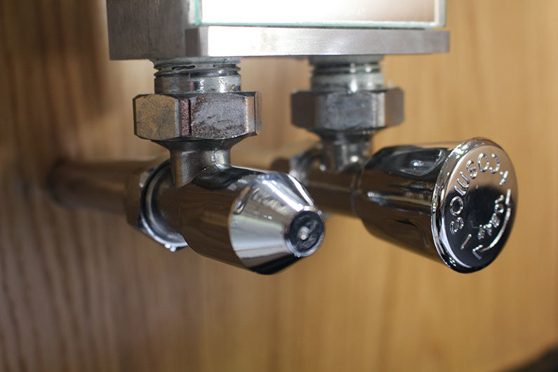 Radiator fittings on a narrowboat