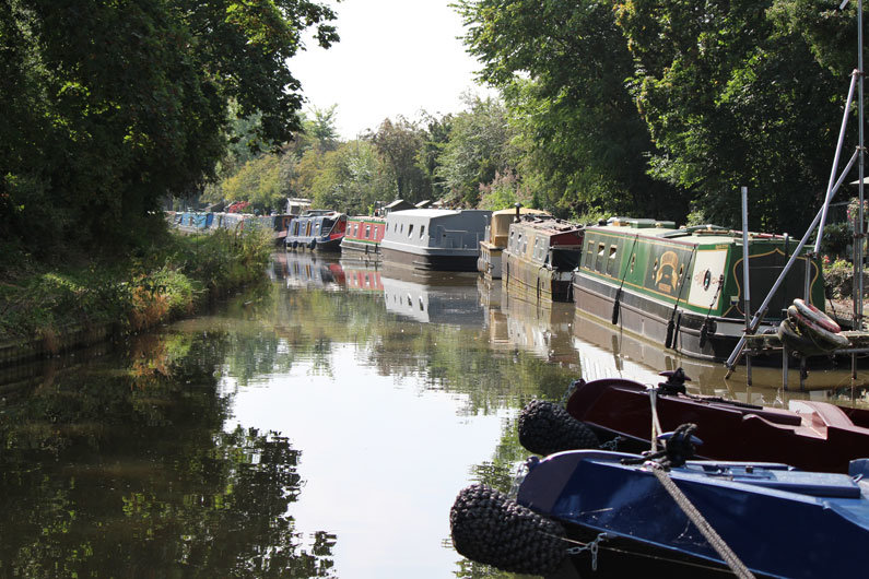 Tow path moorings for narrowboats are often managed by Canal & River Trust