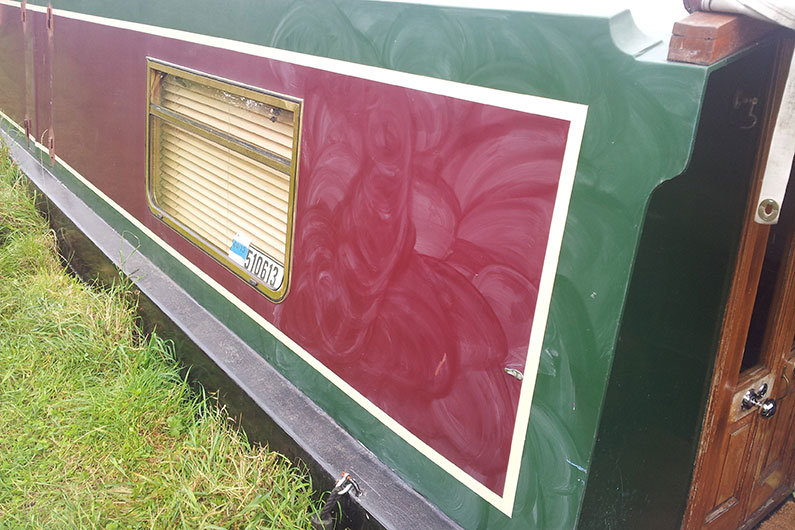 Regular polishing of your narrowboat paintwork will help to protect from UV damage