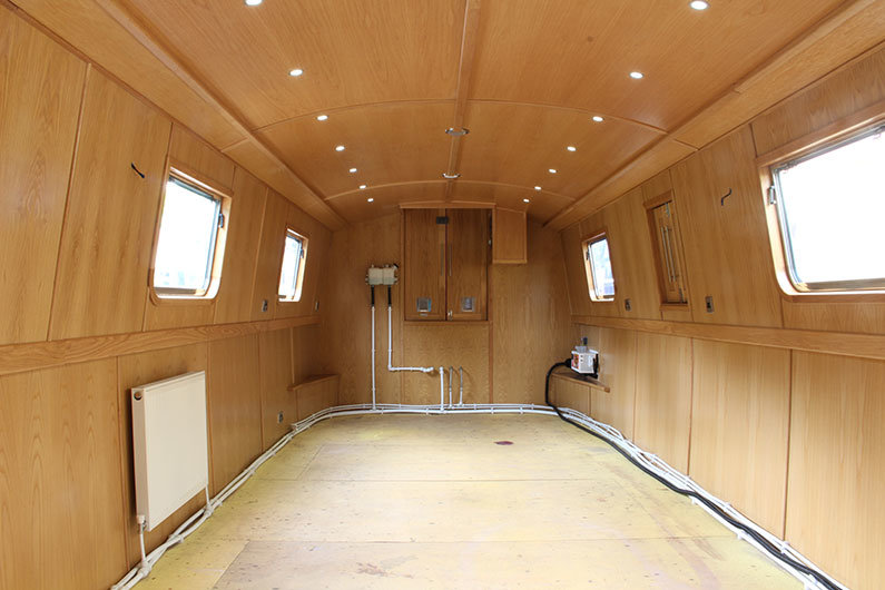 Sailaway lined narrowboat interior