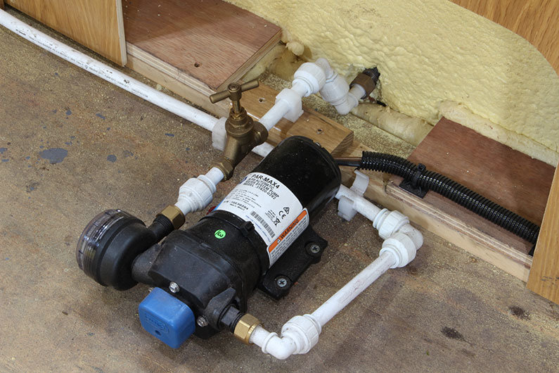 Water pump installed on a narrow boat