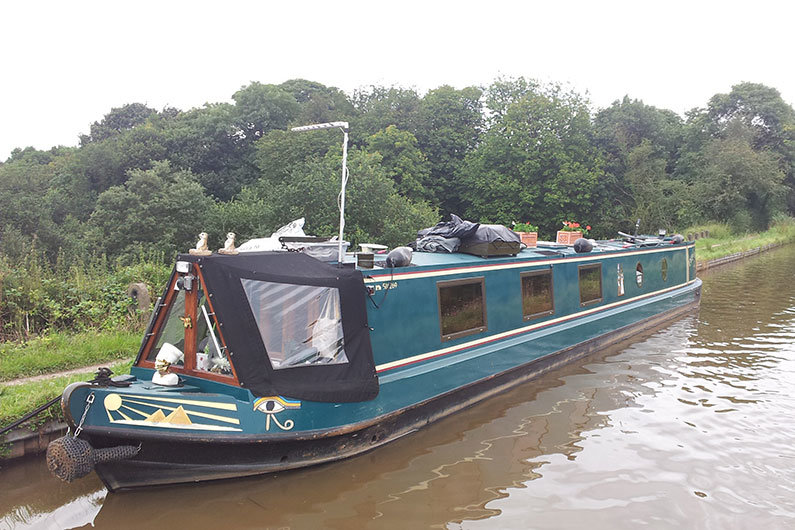 Aerial installed on a narrow boat