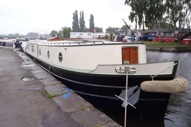 An anchor on a narrowboat can be used for mooring securely
