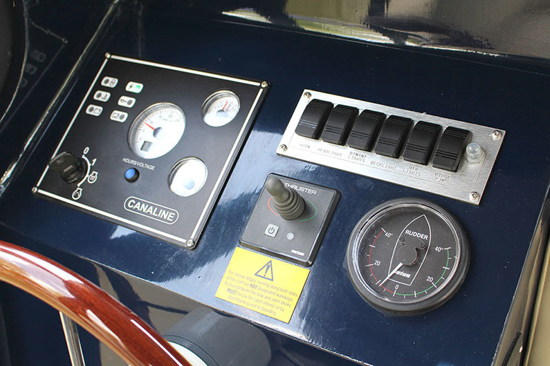 Engine controls on a narrowboat