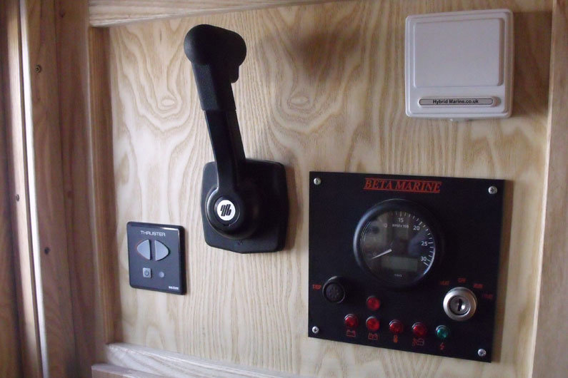 Most narrowboats have a single lever control, used to control both speed and gearbox