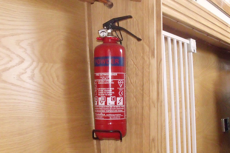 Fire extinguisher on a narrow boat, required by BSS