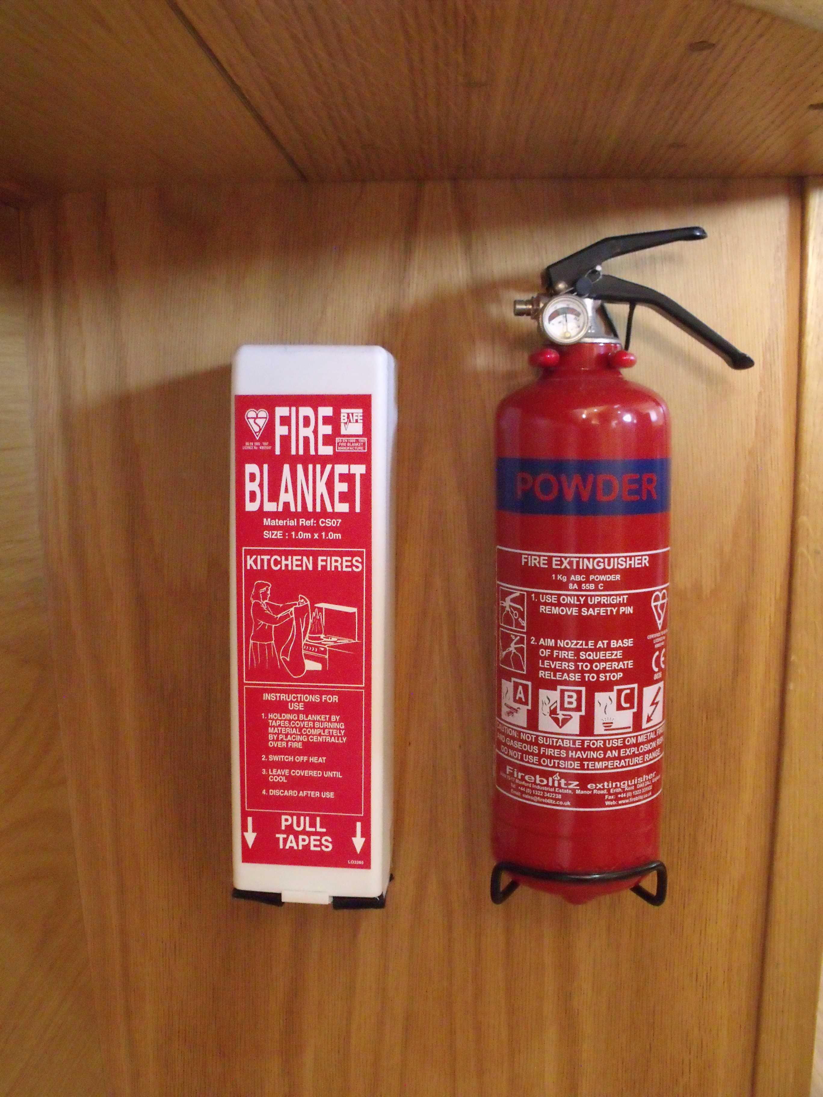 A fire blanket is required on a narrowboat with cooking facilities