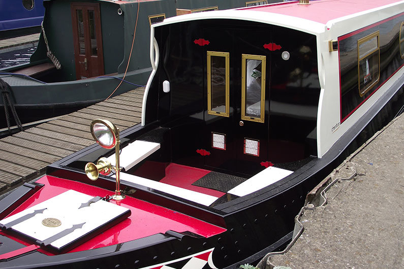 Tunnel lights on a narrow boat, functional as well as practical if travelling at night or through a tunnel