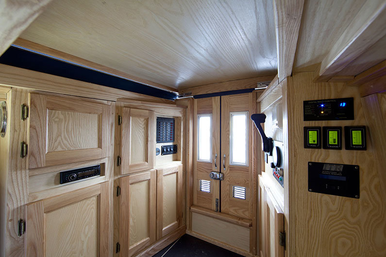 12v car stereo installed near the engine controls on a narrowboat
