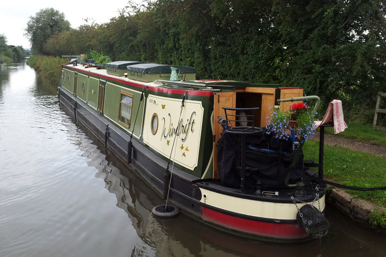 Roof storage boxes are often found on narrow boats