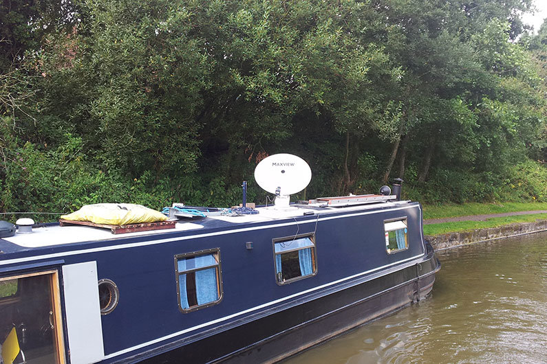 Satellite TV installed on a narrowboat