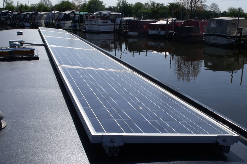 Solar panels are a common addition to narrowboats, harnessing the sun to charge the narrow boat batteries