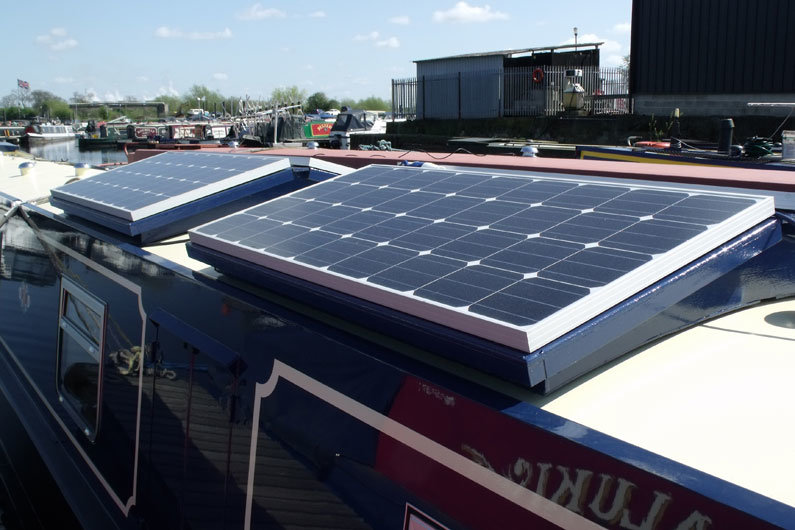 Roof storage boxes can also house solar panels on a narrowboat