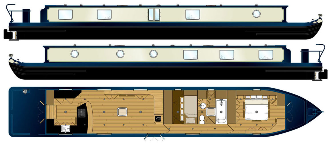 69x11ft Widebeam - Designed by The Fit Out Pontoon - UK's leading canal boat designers