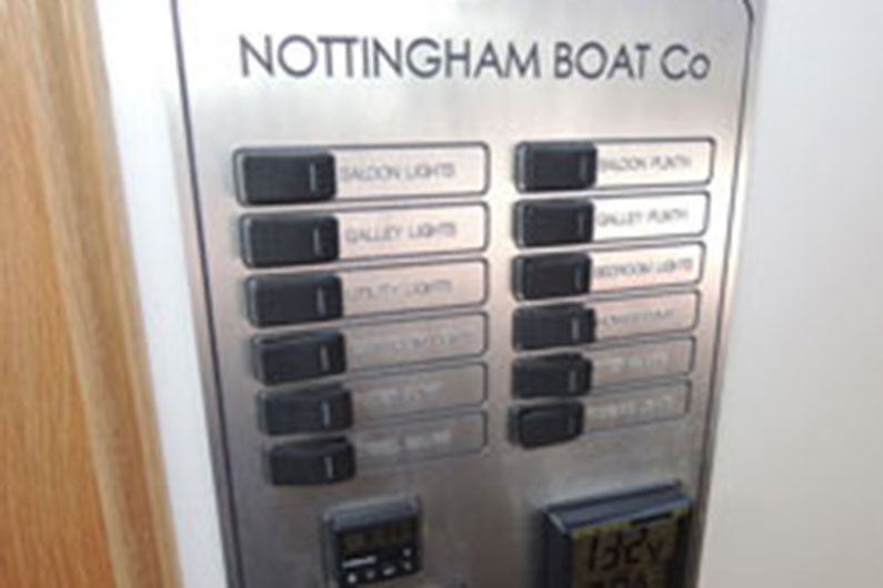 Narrow boat electrics control panel