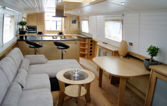 Saloon area in a new fully fitted widebeam canal boat