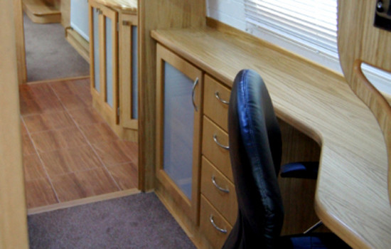 Office space in the corridor of a new fully fitted widebeam canal boat