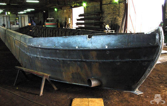 New widebeam canal boat hull being constructed