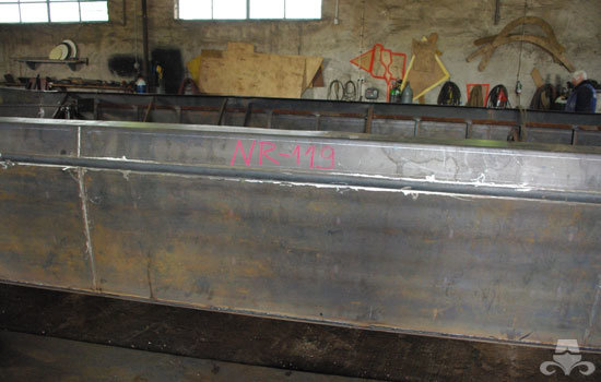 Early stages of the steel hull construction on a widebeam canal boat