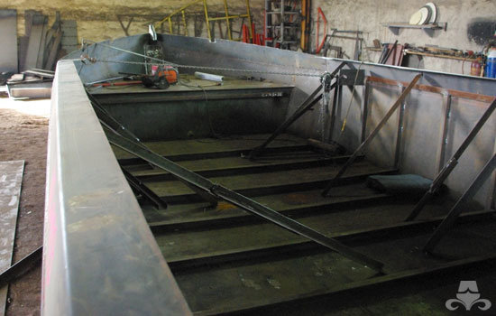 New widebeam canal boat hull construction