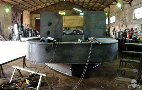 Stern of a new widebeam canal boat in early stages of hull construction