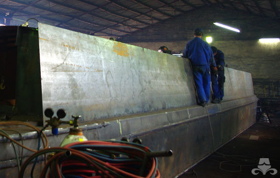 Cabin sides being fabricated on a new widebeam canal boat
