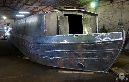 Completed widebeam canal boat hull