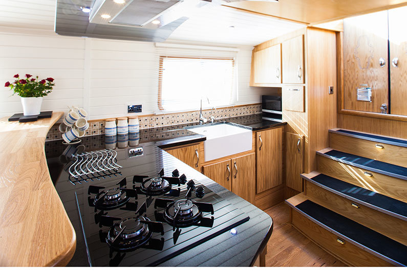 New widebeam fully fitted canal boat galley