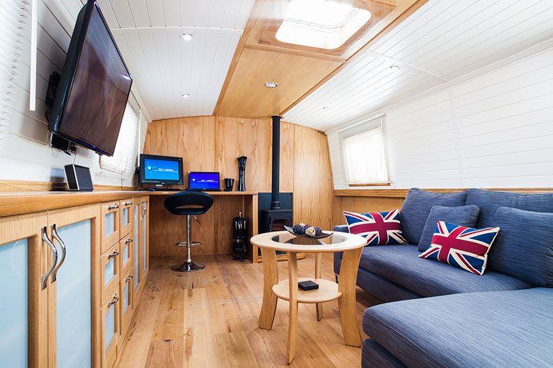 New widebeam fully fitted canal boat - saloon