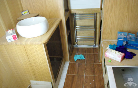 Bathroom fit out on a new widebeam canal boat 10