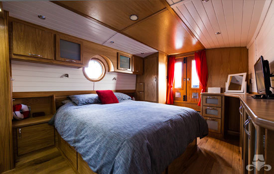 Fully fitted widebeam canal boat completed to our specification - bedroom