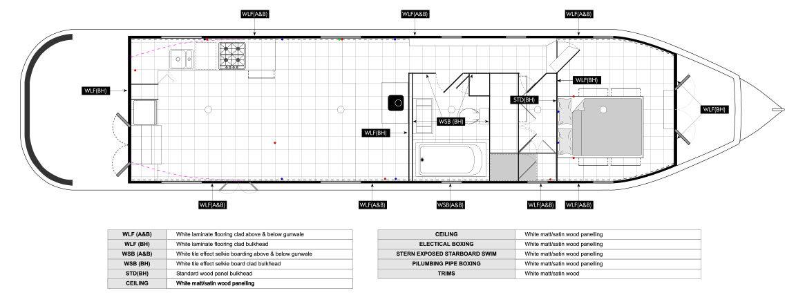 Narrowboat Wide beam Builders - Widebeam Design Technical Drawings