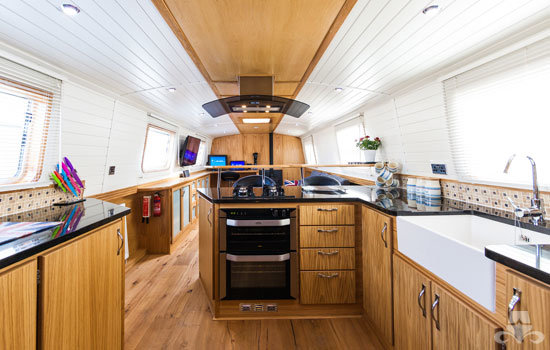 Fully fitted widebeam canal boat completed to our specification - galley