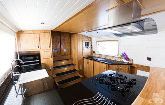 Fully fitted widebeam canal boat completed to our specification - galley 02